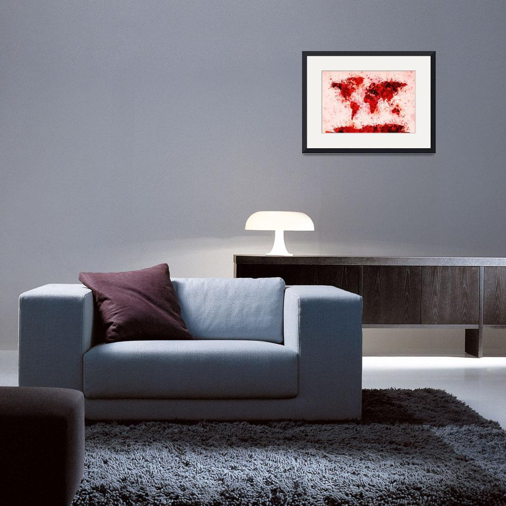 """World Map Paint Splashes Red&quot  (2011) by ModernArtPrints"