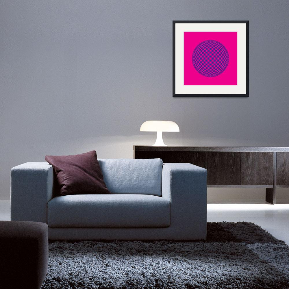 """Squares in Motion Spehere Magenta & Blue&quot  by jvorzimmer"