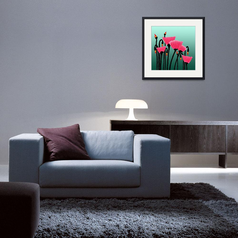 """Expressive Red Pink Green Poppy Painting 3309s&quot  (2016) by Ricardos"