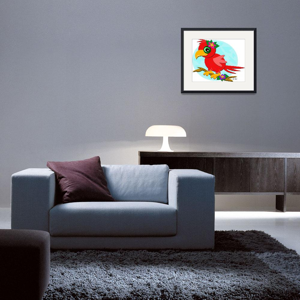 """Red Parrot with a Flower&quot  (2012) by theblueplanet"