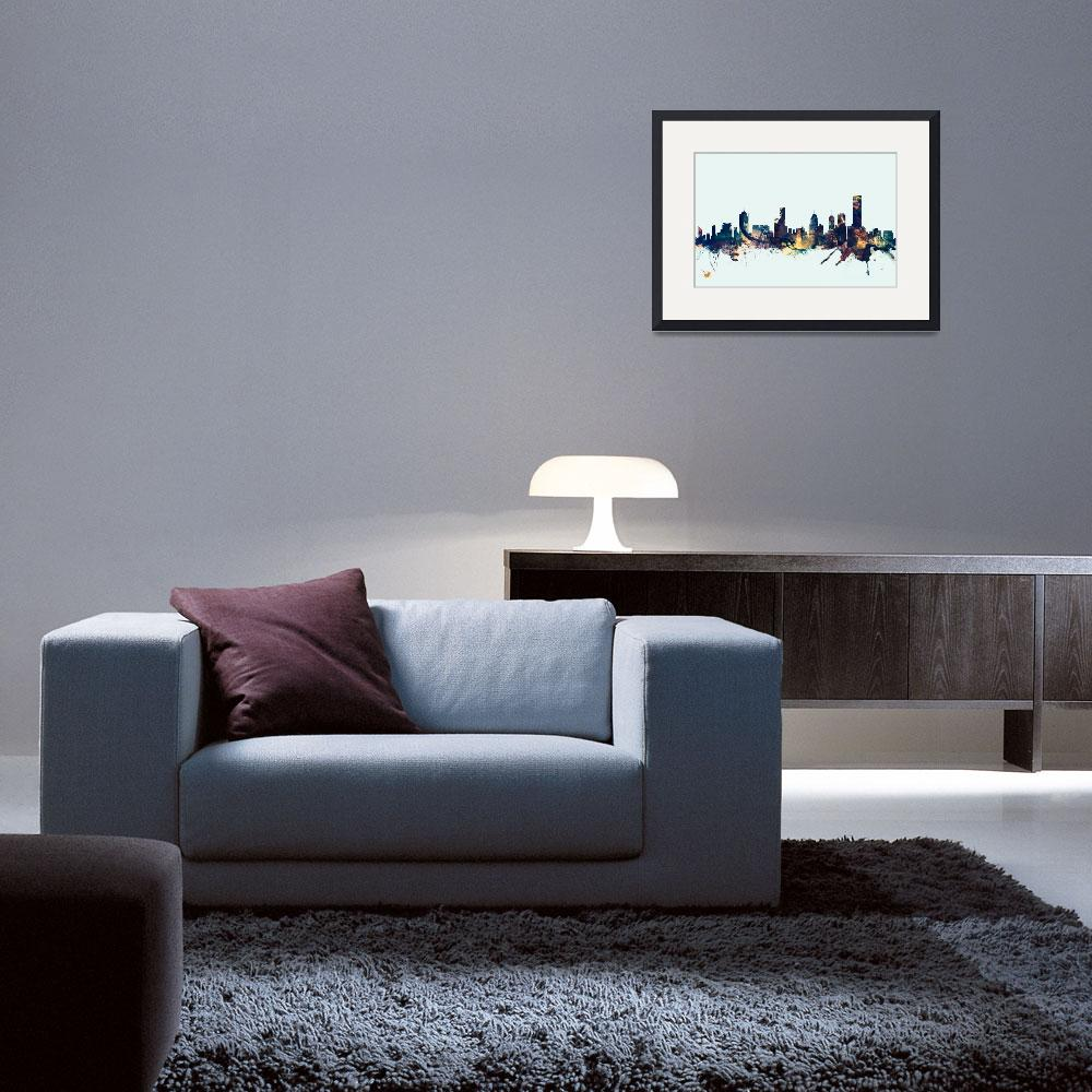 """Melbourne Skyline&quot  (2015) by ModernArtPrints"