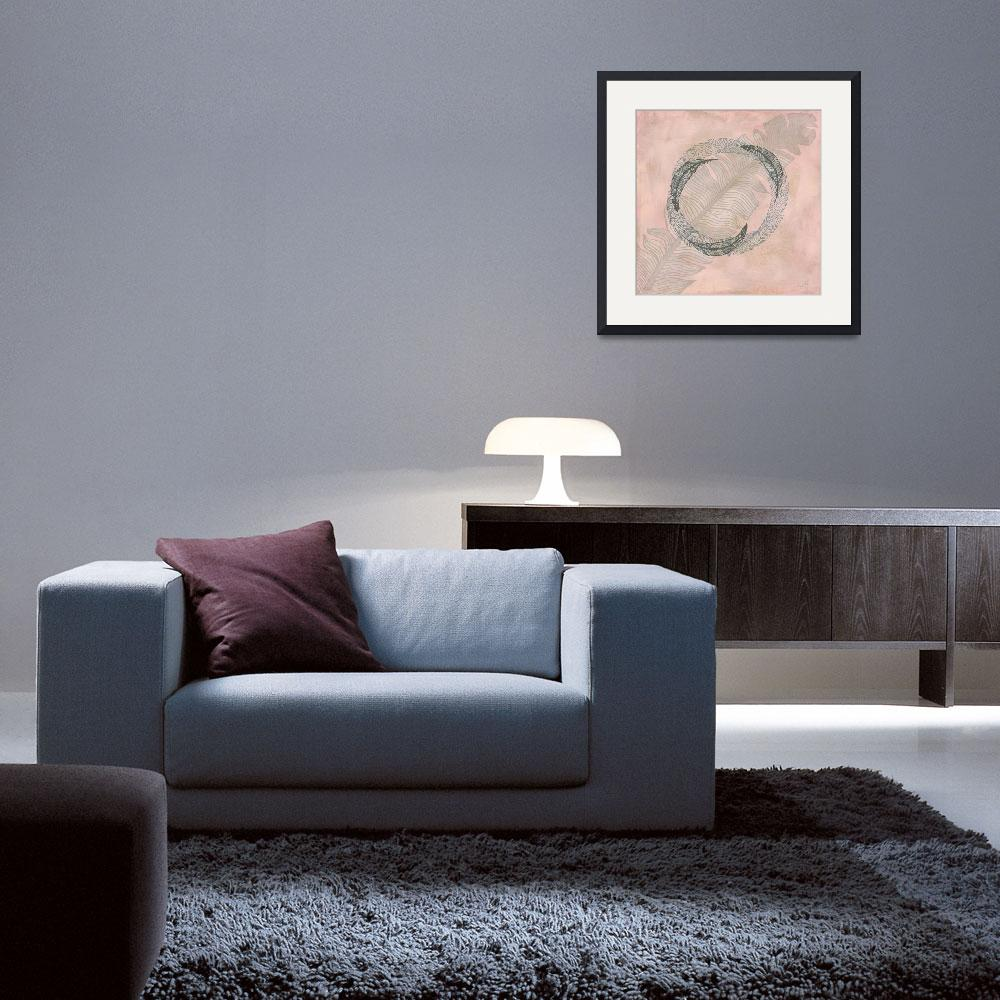 """Zen Feather Circle I&quot  by WrightFineArt"