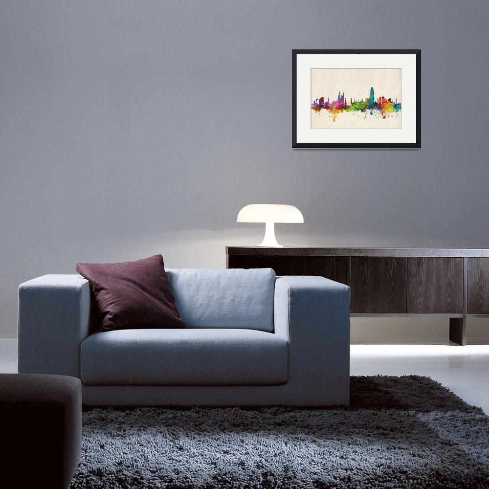 """Barcelona Spain Skyline&quot  (2014) by ModernArtPrints"
