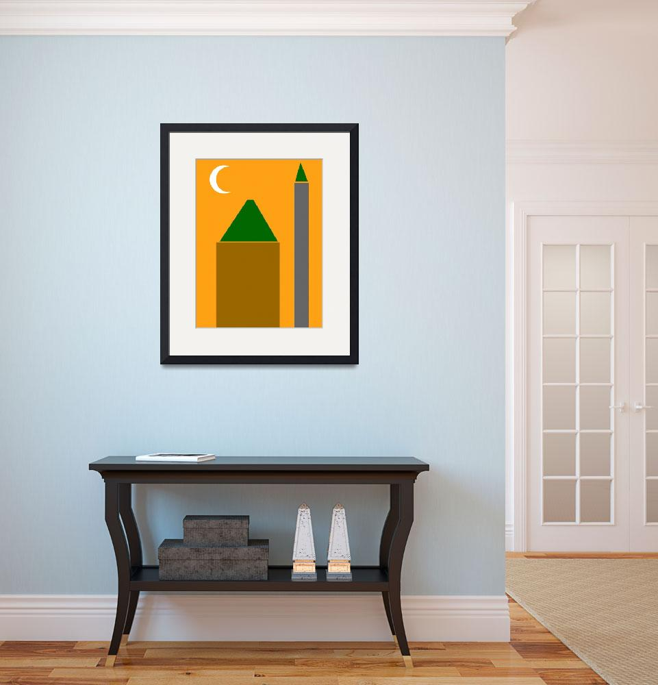 """Abstract Poster - The Mosque Minaret and Crescent&quot  by motionage"