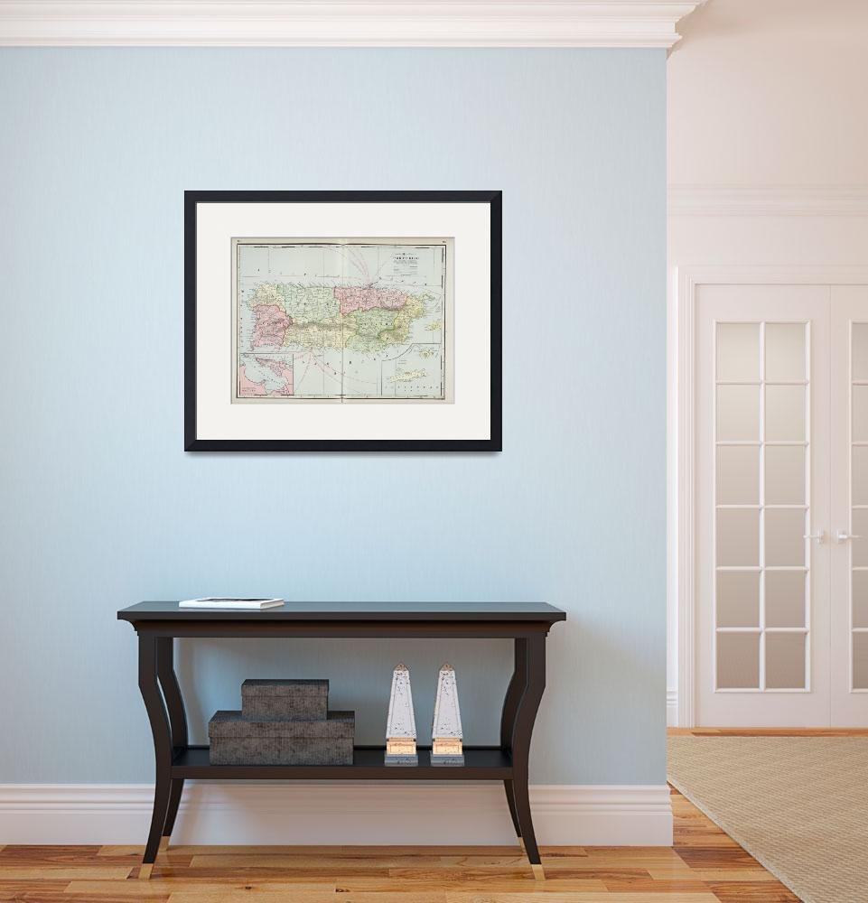 """Vintage Map of Puerto Rico (1901)&quot  by Alleycatshirts"