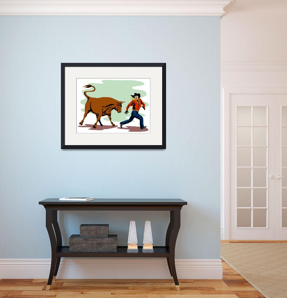 """Raging Bull Attacking Retro&quot  (2013) by patrimonio"