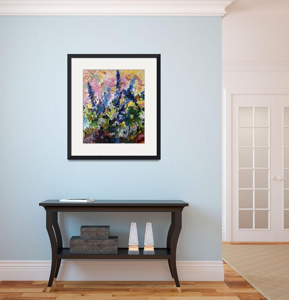 """Blue Delphiniums Oil Painting By Ginette Callaway&quot  (2009) by GinetteCallaway"