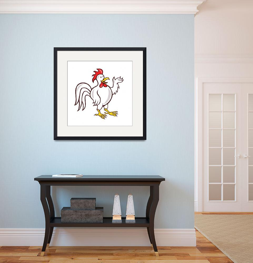 """Rooster Cockerel Waving Hello Cartoon&quot  (2014) by patrimonio"