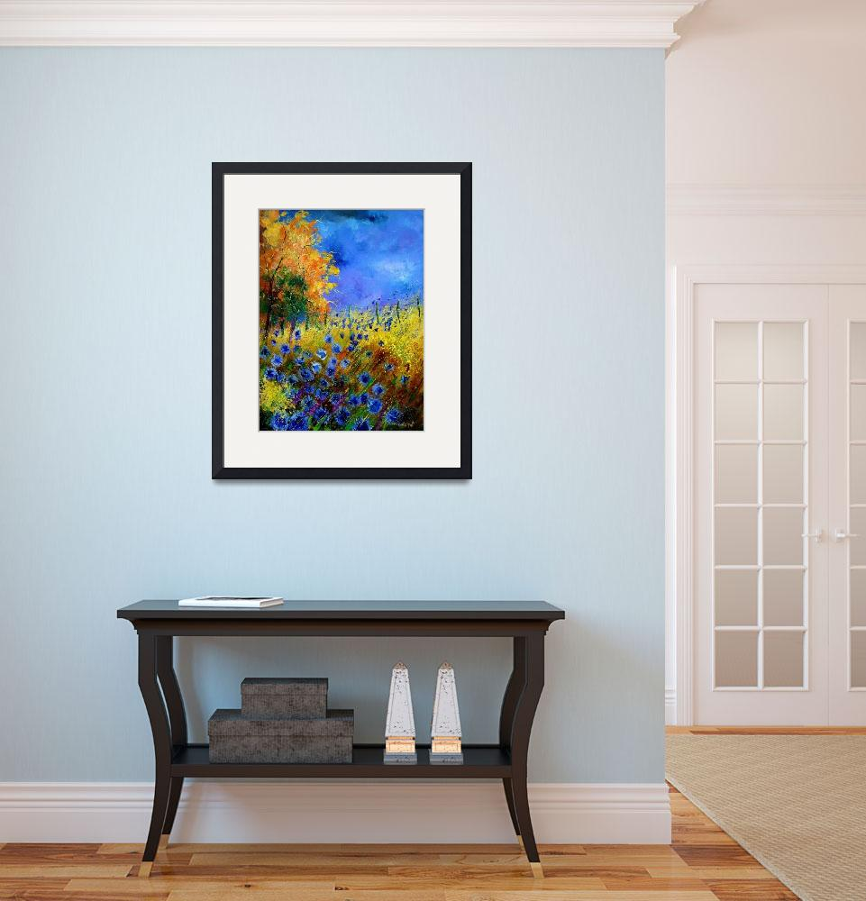 """Blue poppies and orange tree&quot  by pol"