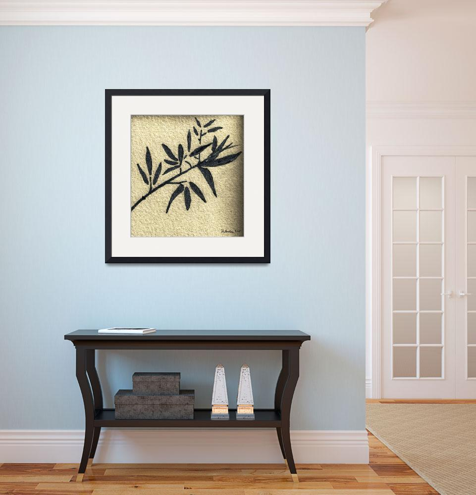 """Zen Sumi Antique Botanical 4a Black Ink on Waterco&quot  (2011) by Ricardos"