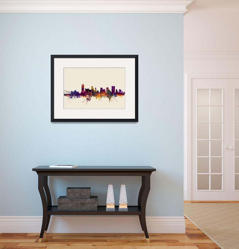 """Memphis Tennessee Skyline&quot  (2015) by ModernArtPrints"