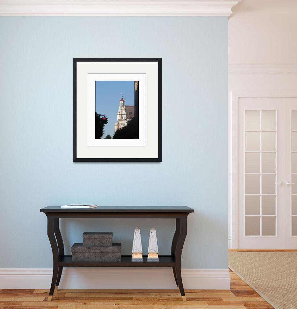 """Yale Blue Sky Steeple Silhouette&quot  (2010) by CuriousEye"