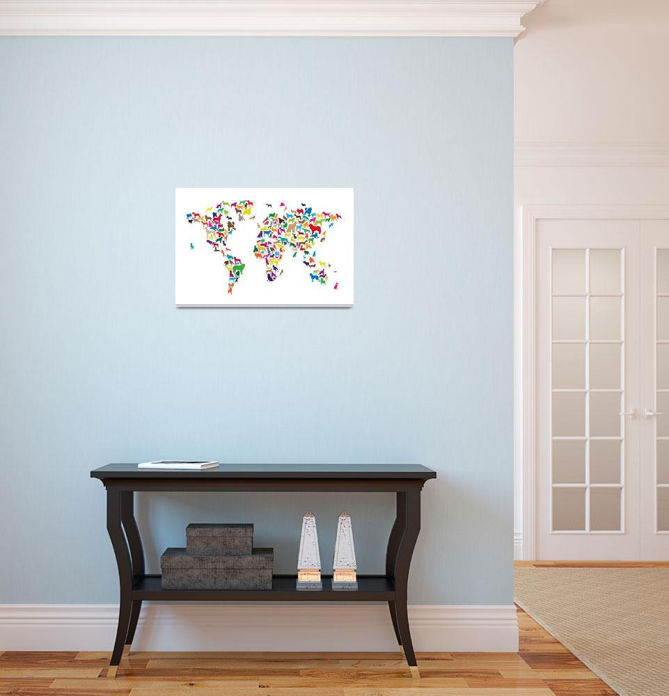 """Dogs Map of the World Map&quot  (2014) by ModernArtPrints"