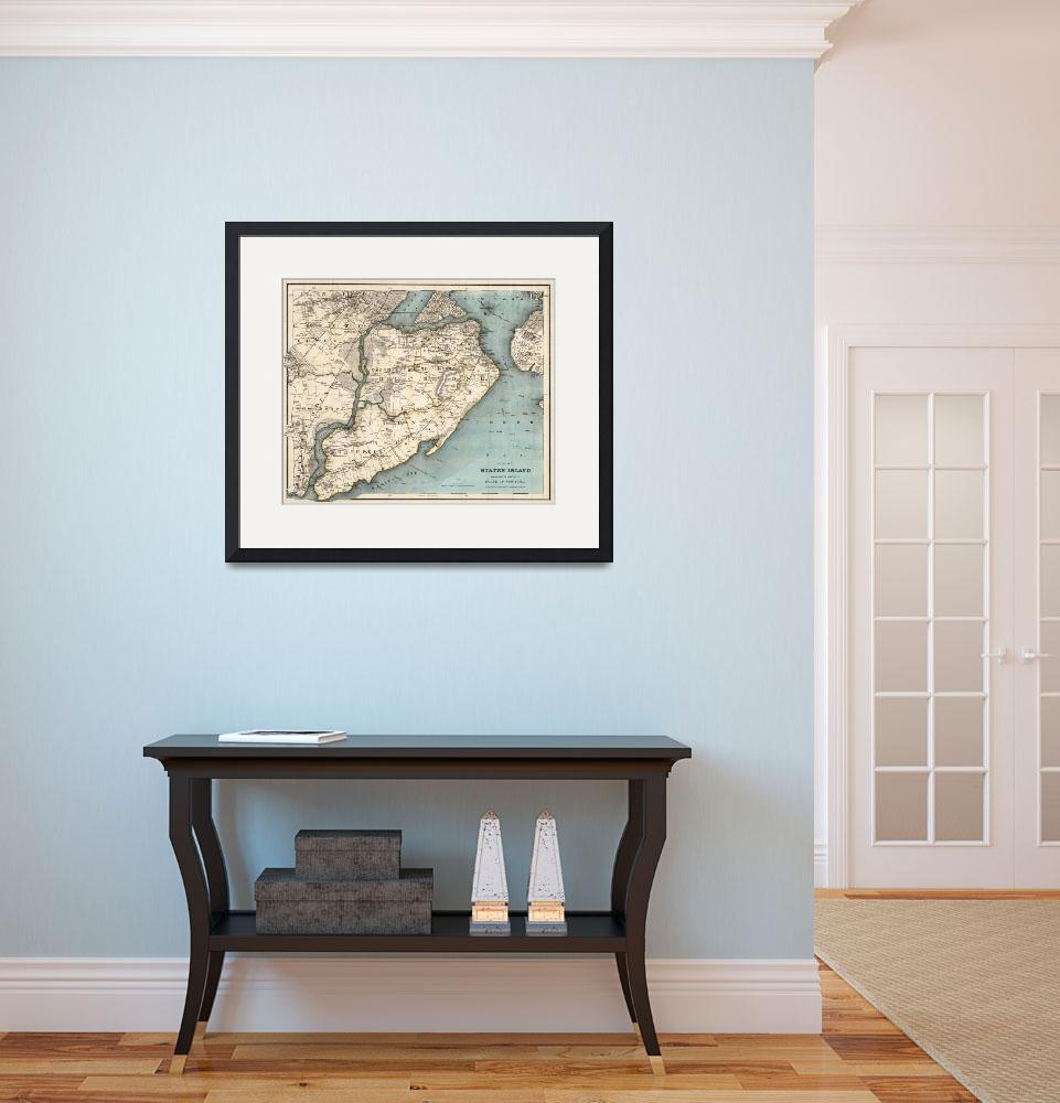 """Vintage Map of Staten Island NY (1896)&quot  by Alleycatshirts"