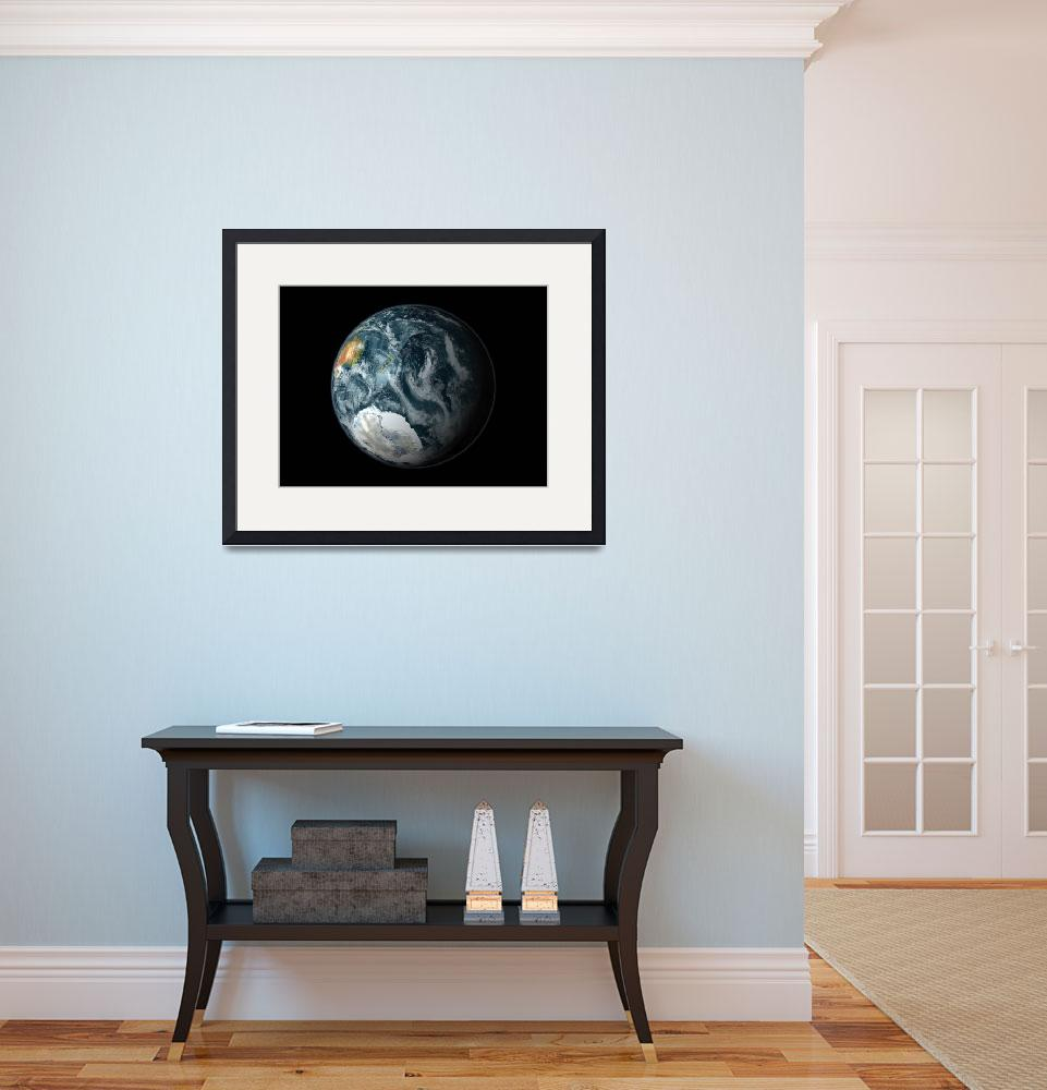 """Full view of the Earth highlighting Antarctica&quot  by stocktrekimages"