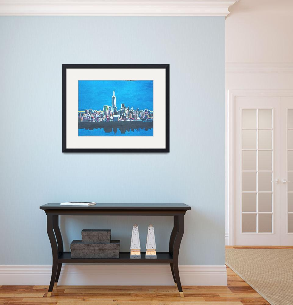 """Neon Skyline of New York City Manhattan with One W&quot  (2014) by arthop77"