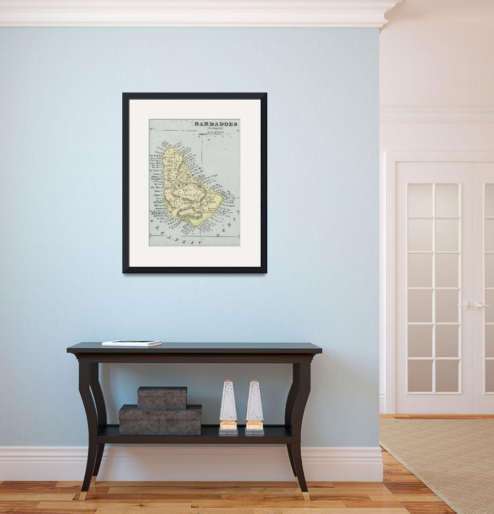 """Vintage Map of Barbados (1901)&quot  by Alleycatshirts"