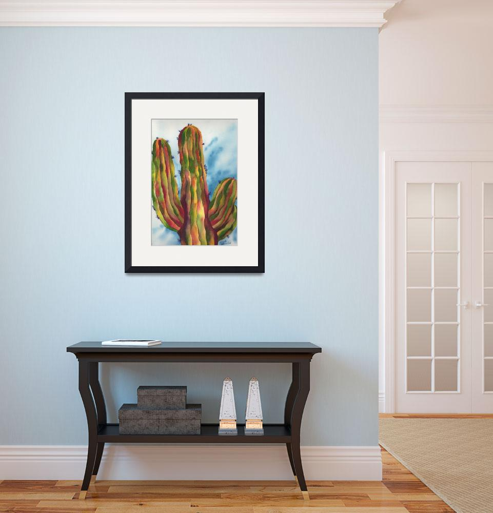"""Vivid and Majestic Saguaro Cactus Watercolor Art&quot  by GayelaChapman"
