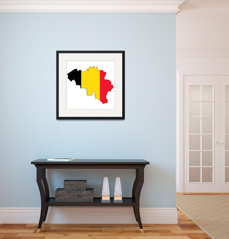 """Belgian Flag Silhouette&quot  by KWGart"