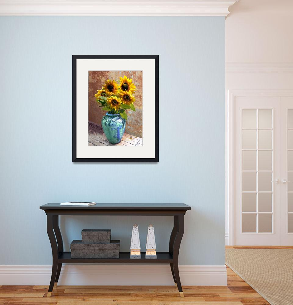 """Sunflowers in Blue-Green Vase&quot  (2012) by spadecaller"