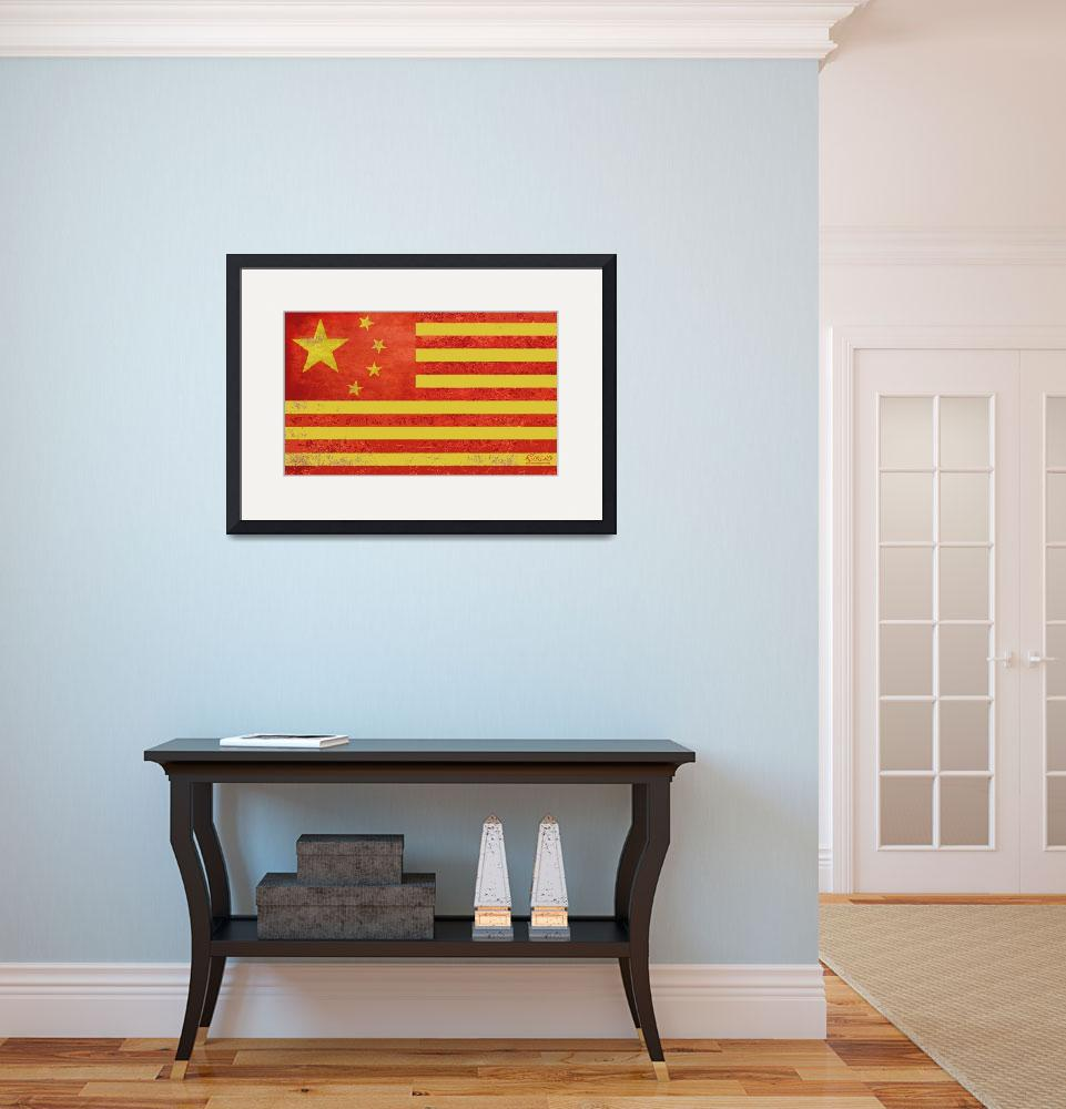 """Chinese American Flag&quot  (2013) by RubinoFineArt"