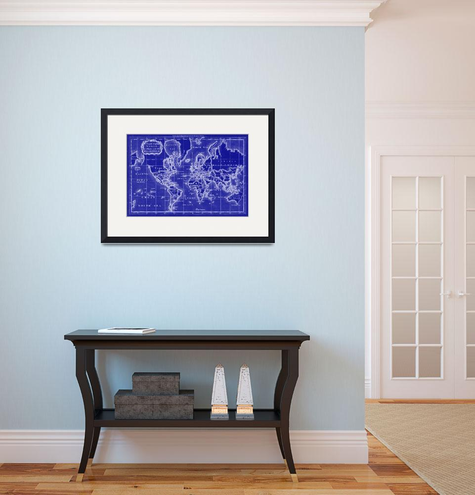 """World Map (1766) Blue & White&quot  by Alleycatshirts"