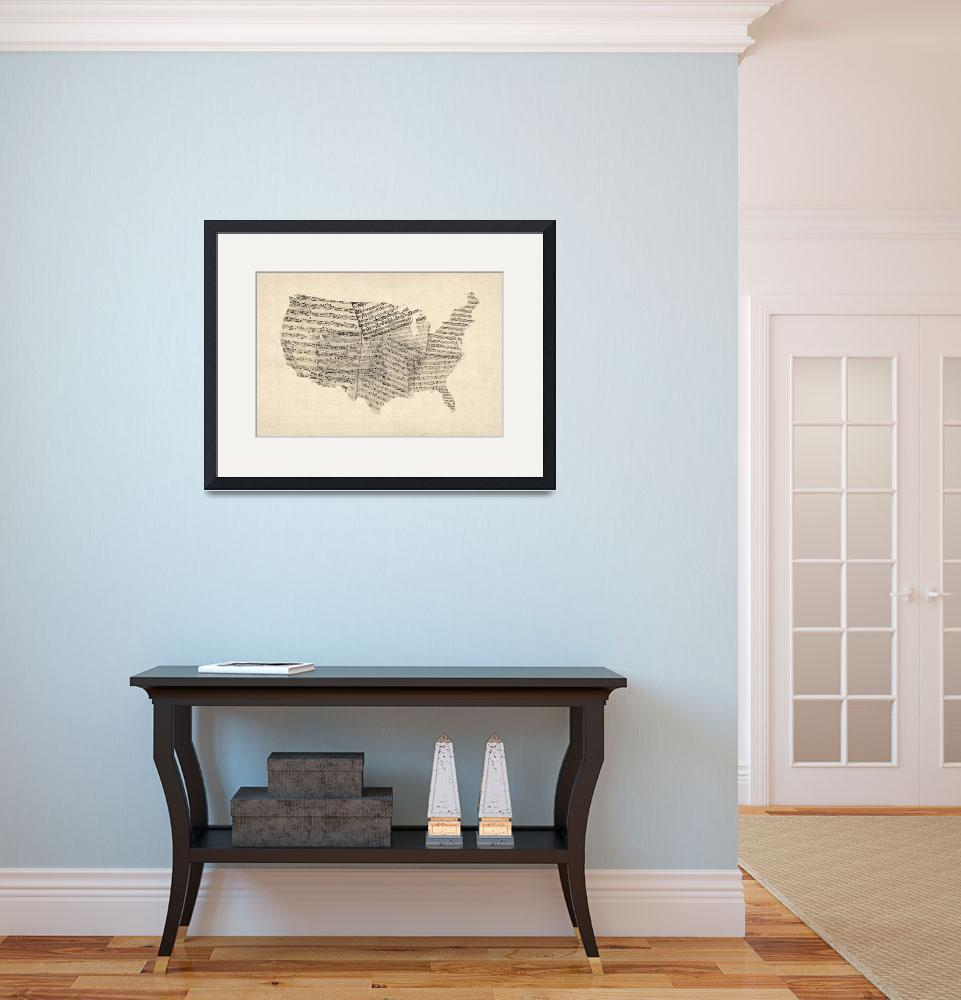 """United States Old Sheet Music Map&quot  (2012) by ModernArtPrints"