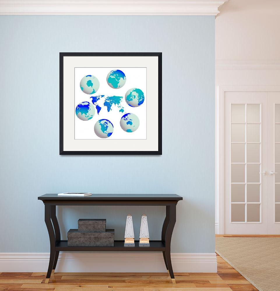 """earth globes and world map against white&quot  by robertosch"