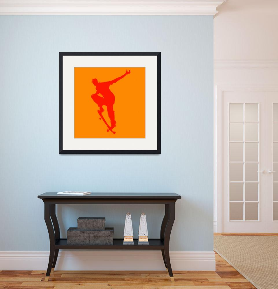 """Skateboarder 1 . orange red (c)&quot  (2014) by edmarion"