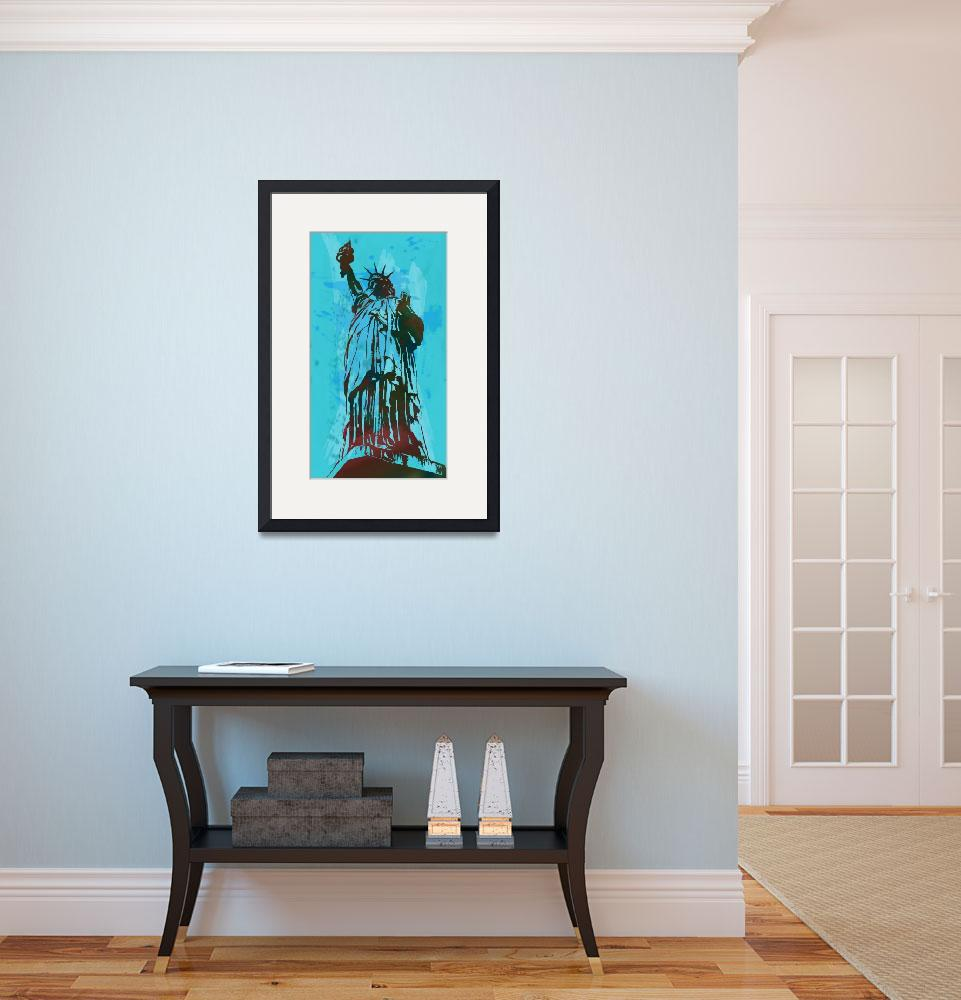 """Statue Liberty - Pop Stylised Art Poster&quot  (2014) by visualharbour"