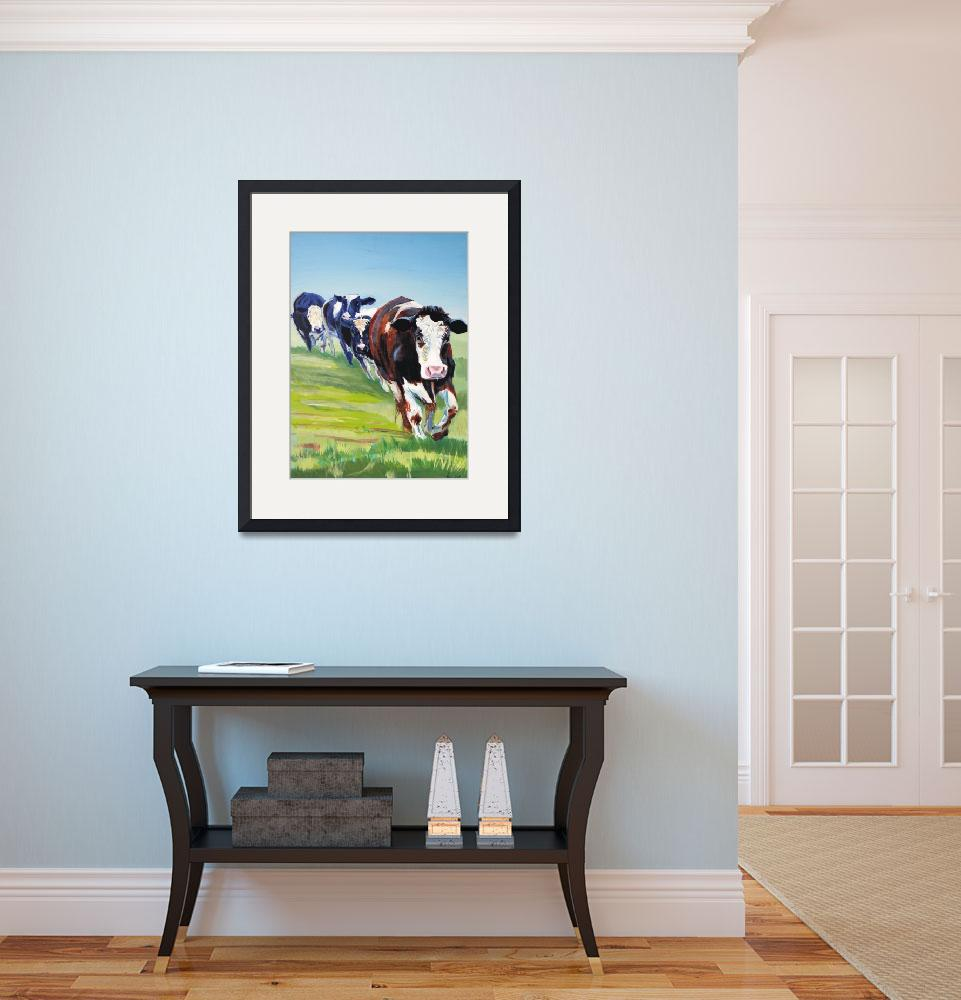 """Morning Walk - Painting of 4 cows walking&quot  (2007) by MikeJory"