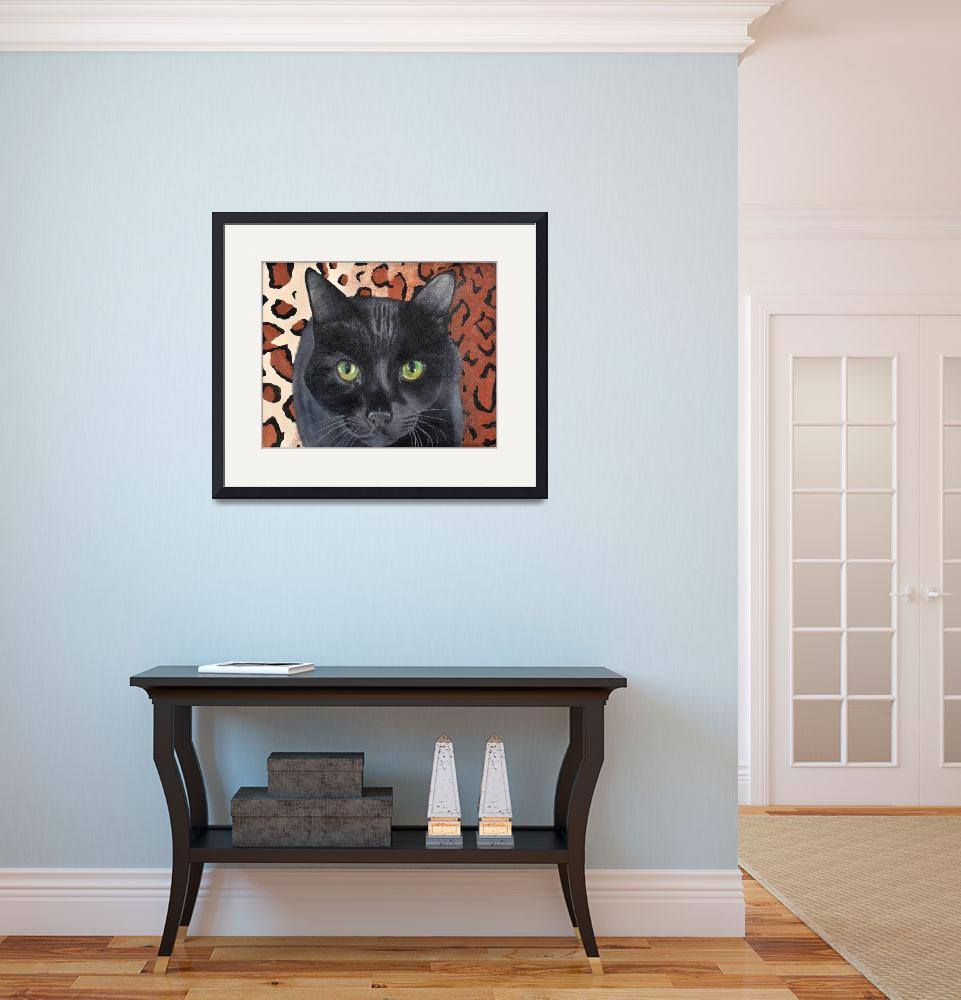 """Black Cat on a Leopard Rug&quot  (2005) by evansonart"