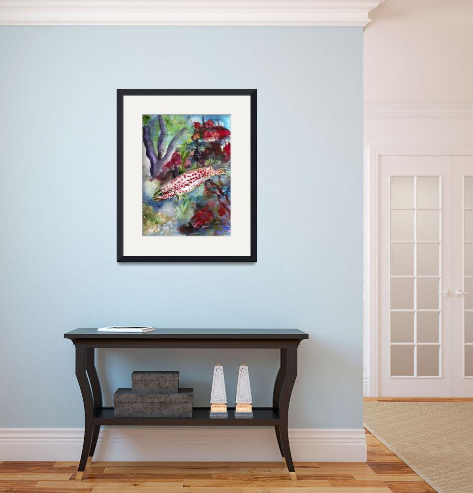 """Ocean Life Coral Reef Fish Watercolor&quot  (2015) by GinetteCallaway"