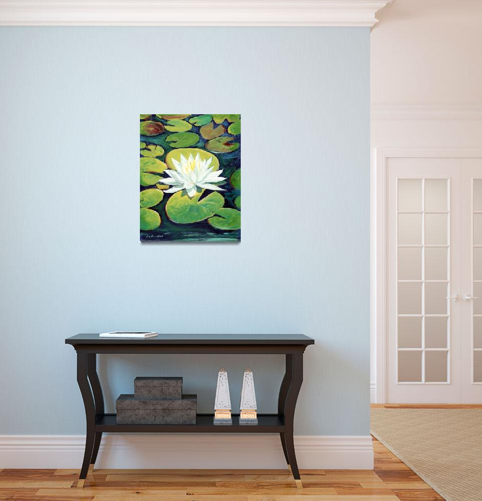 """Water Lily Flower painting by RD  Riccoboni™&quot  (2009) by BeaconArtWorksCorporation"