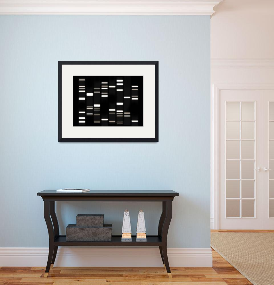 """DNA Art White on Black&quot  (2010) by ModernArtPrints"