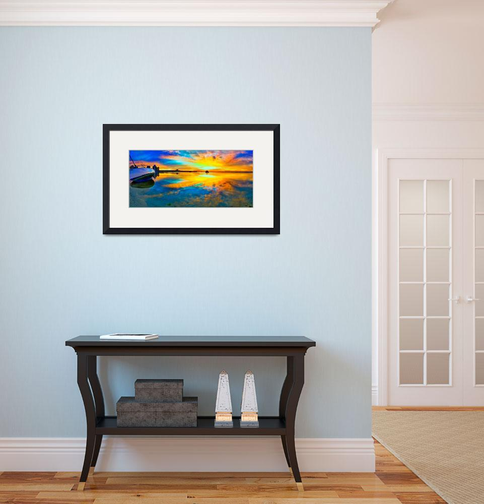 """panoramic-beach-sunset-reflection-wall-art-print&quot  (2014) by eszra"