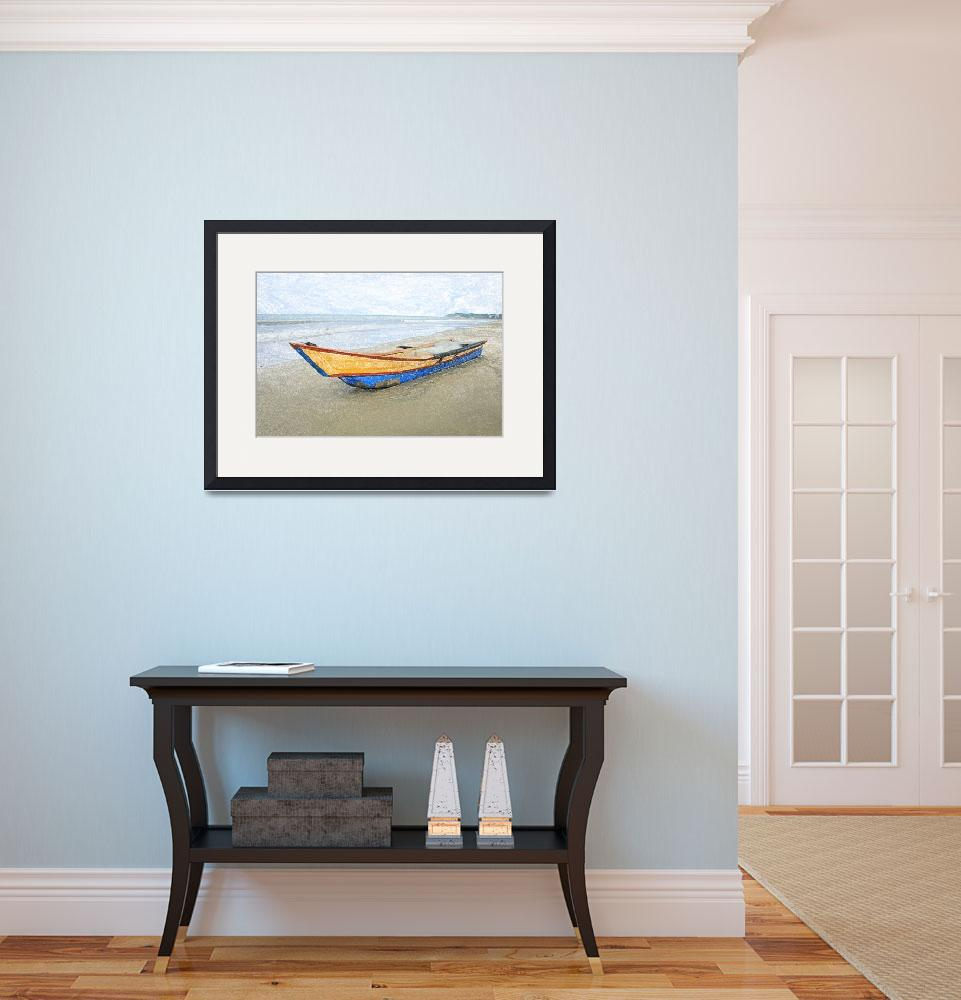 """Bow of a Blue and Yellow Fishing Boat&quot  (2015) by rhamm"