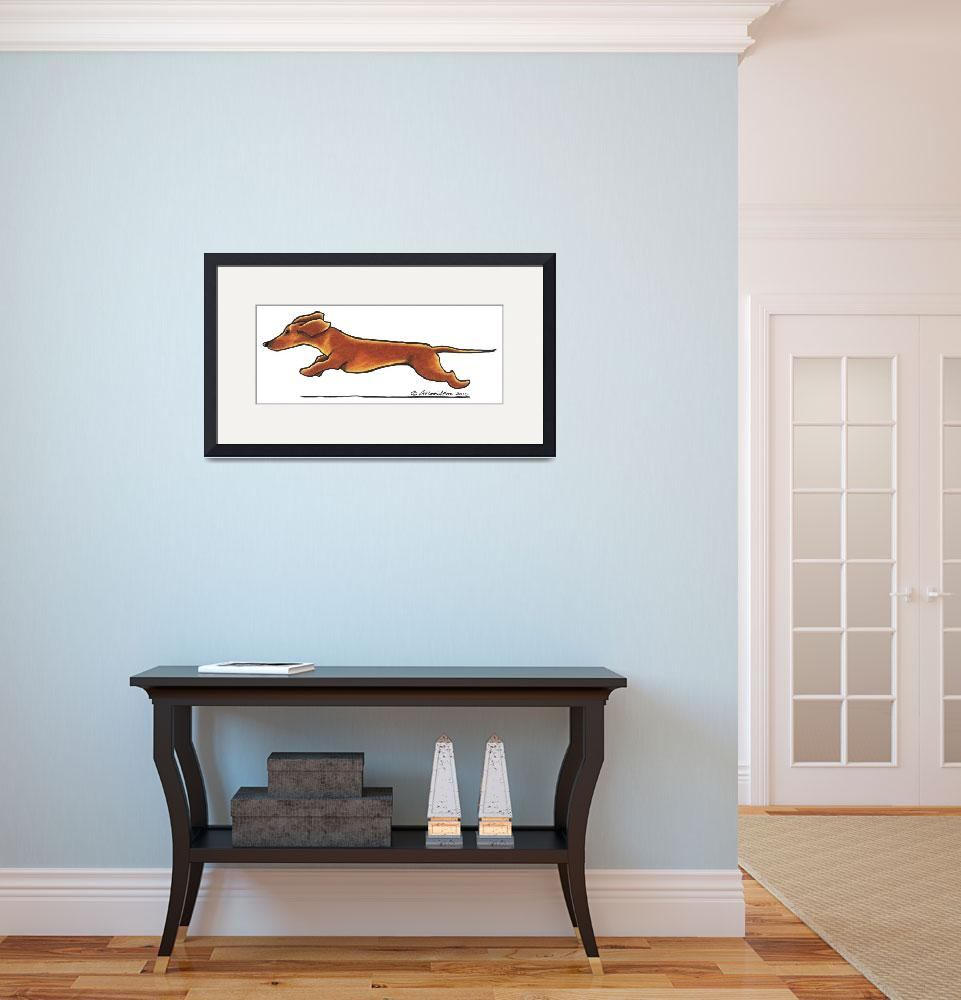 """Dachshund On The Run&quot  (2010) by OffLeashArt"
