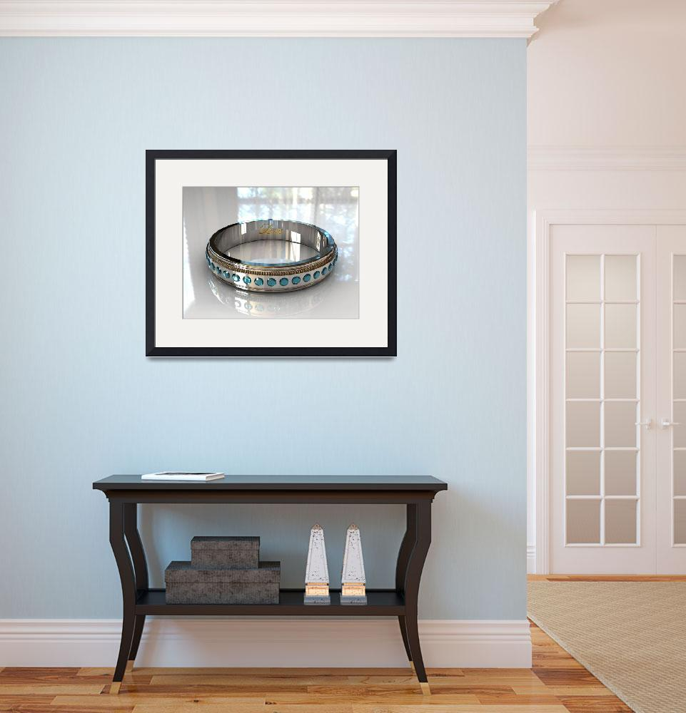"""Blue Topaz White Gold Wedding Ring - 3D&quot  (2009) by Modern-Impressionism"