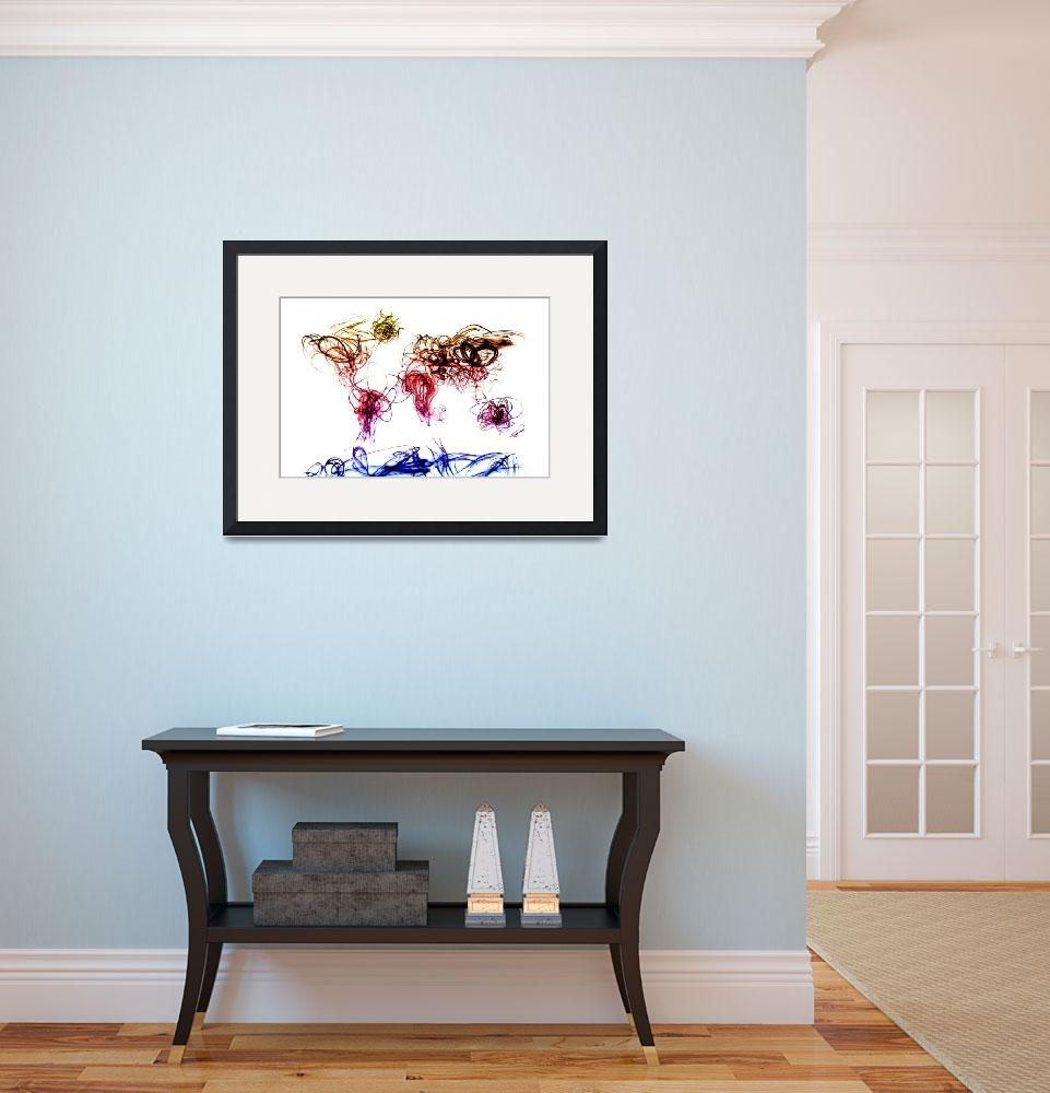 """World Map Light Writing&quot  (2011) by ModernArtPrints"