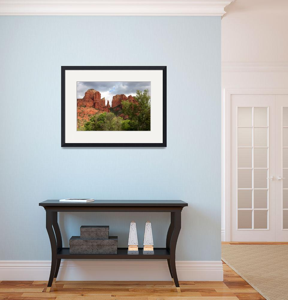 """Red Rocks of Sedona with Spring Trees&quot  by Groecar"