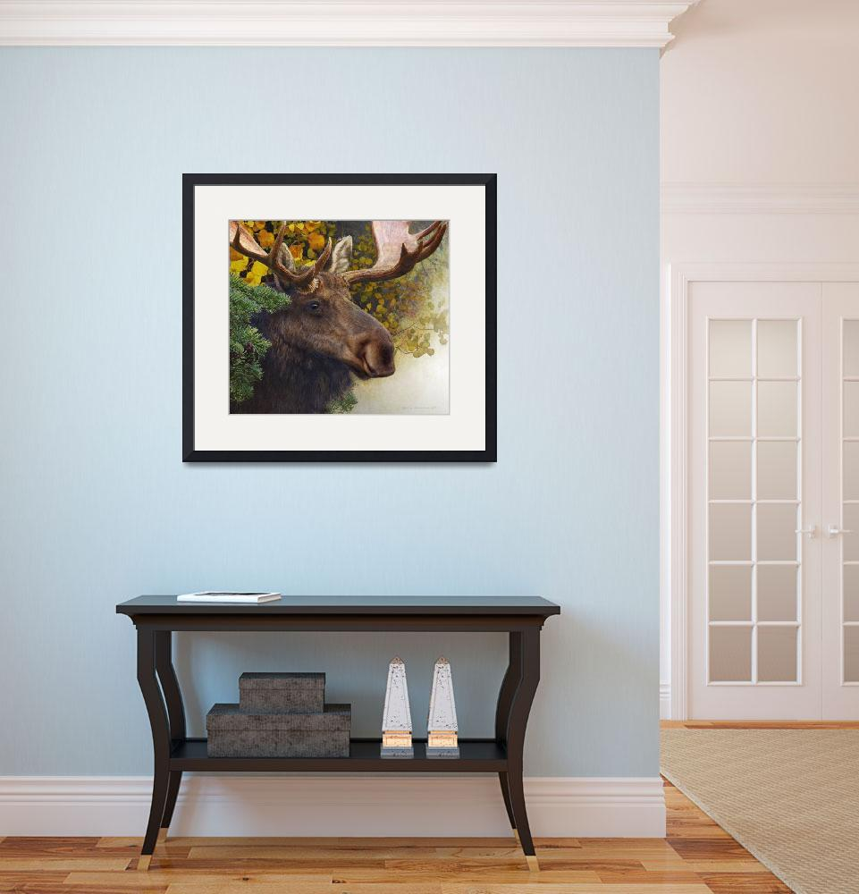 """forest garland bull moose in autumn&quot  (2014) by rchristophervest"