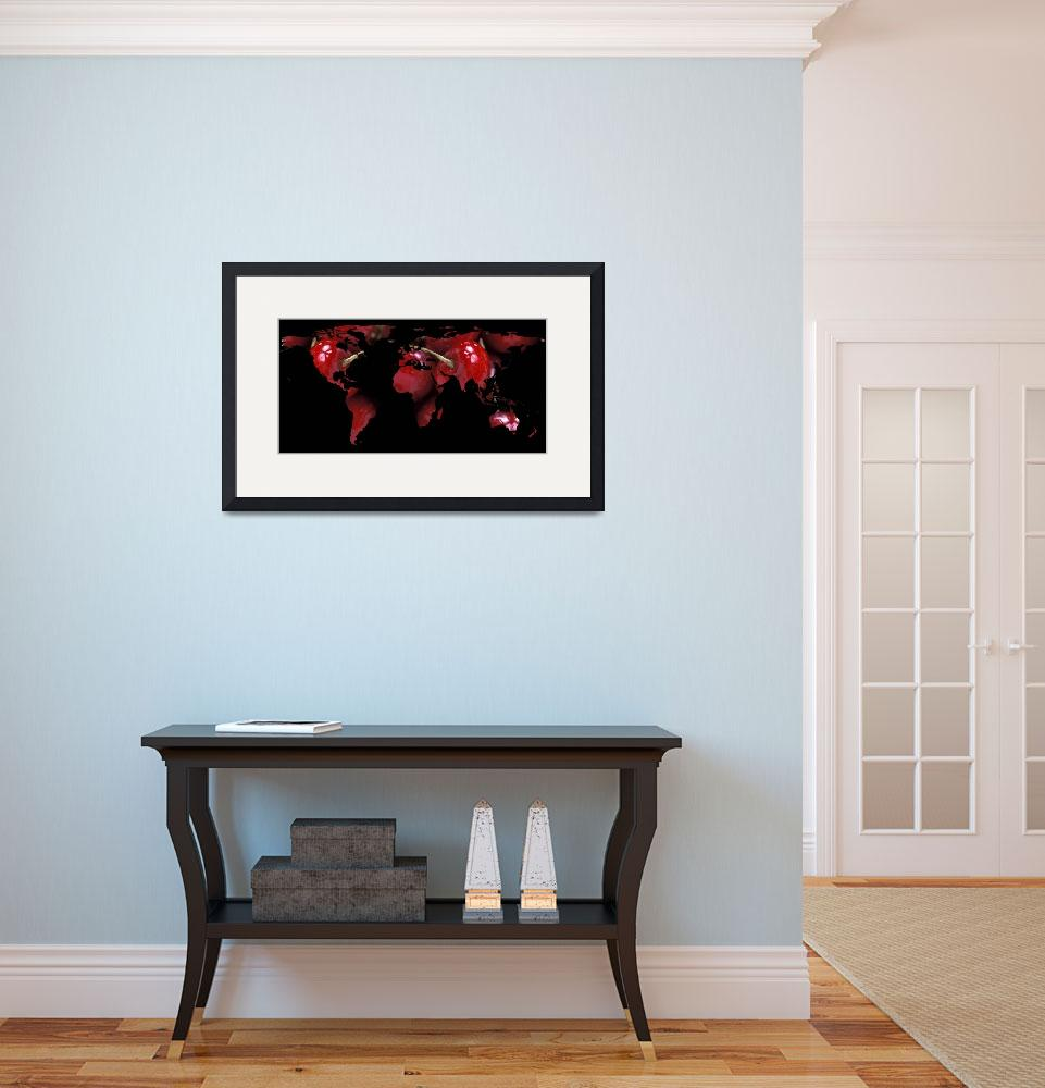 """World Map Silhouette - Red Cherries&quot  by Alleycatshirts"