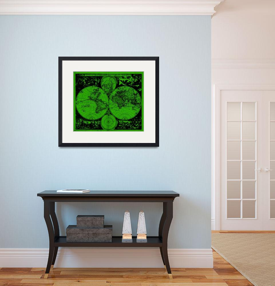 """Vintage Map of The World (1685) Black & Green&quot  by Alleycatshirts"