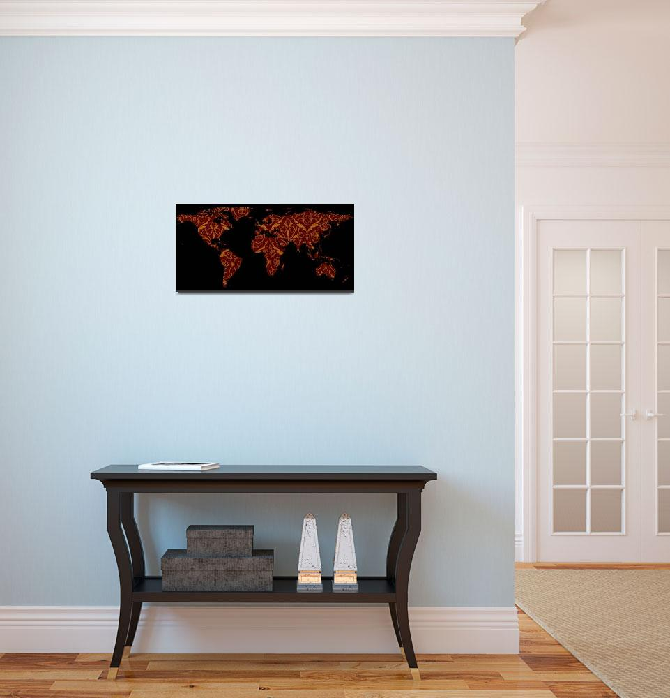 """World Map Silhouette - Orange & Red Floral Patten&quot  by Alleycatshirts"