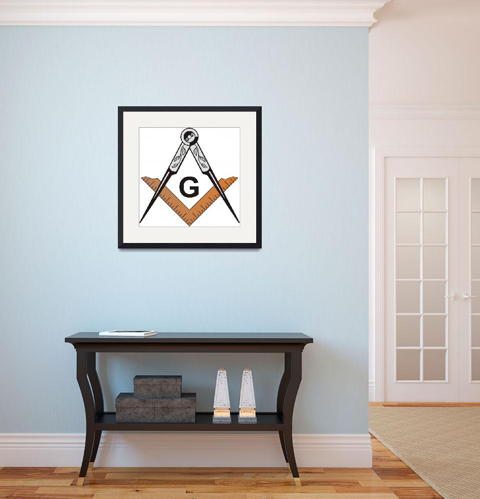 """Masonic Square and Compass&quot  by MasonicArt"