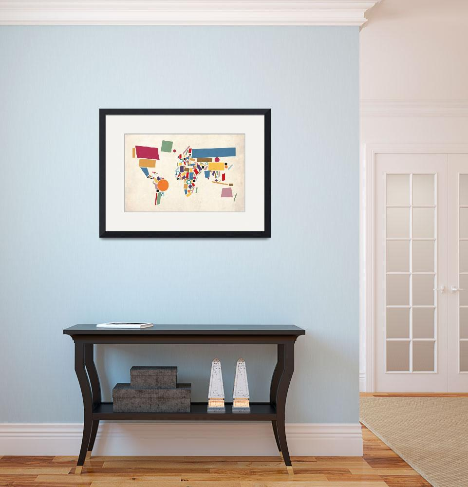 """World Map Abstract&quot  (2011) by ModernArtPrints"