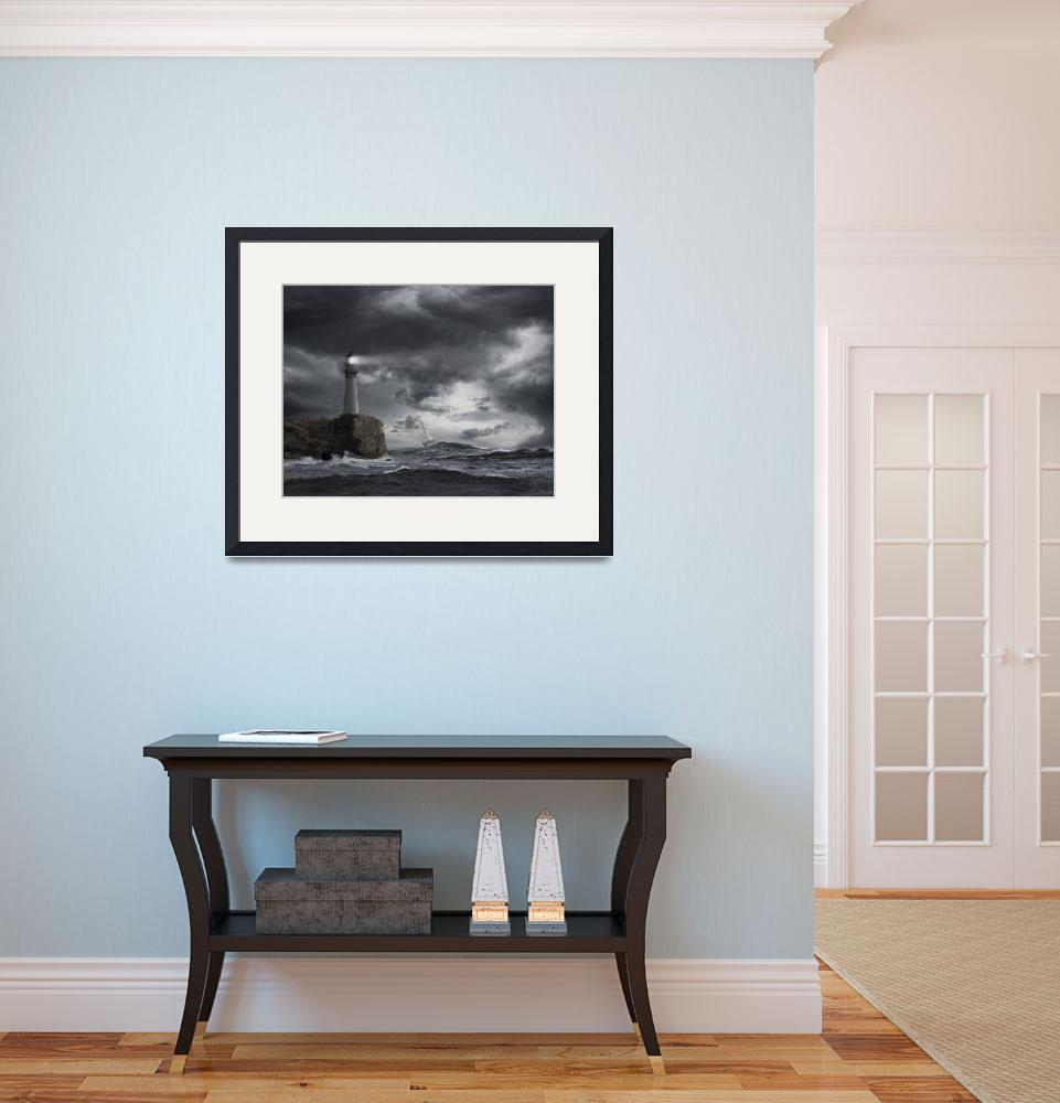 """Sailboat-Lighthouse-Ocean-Storm&quot  (2013) by johnlund"