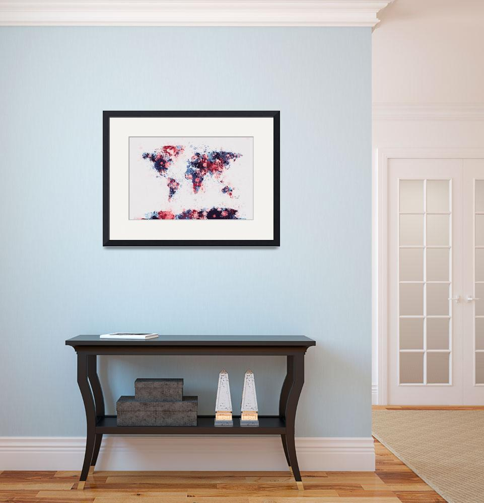 """Flowers Map of the World Map&quot  (2013) by ModernArtPrints"