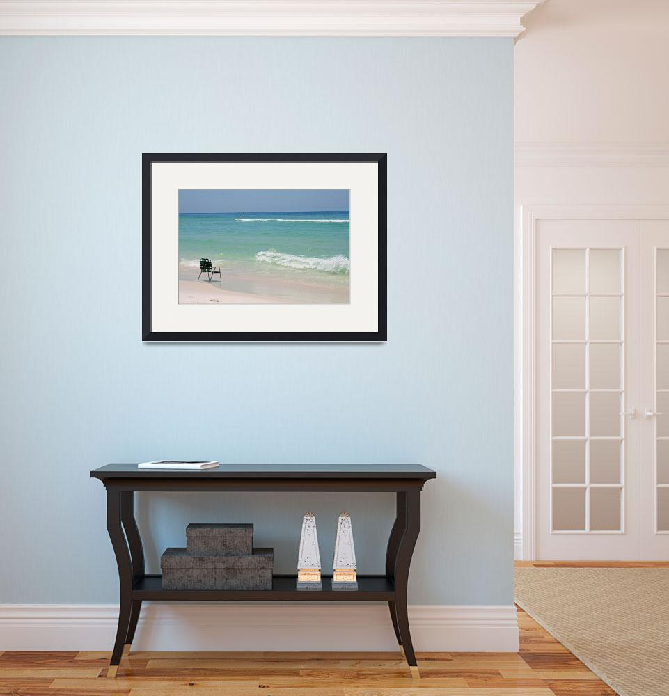 """Ocean Beach and Empty Chair&quot  (2012) by KsWorldArt"